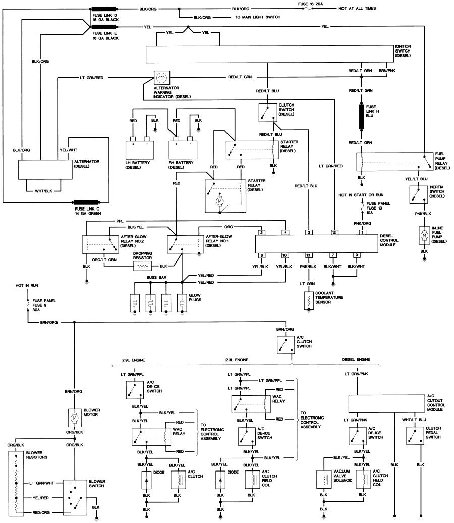 87_B2_diesel bronco ii wiring diagrams bronco ii corral 1994 Ford Ranger Ignition Wiring Diagram at fashall.co