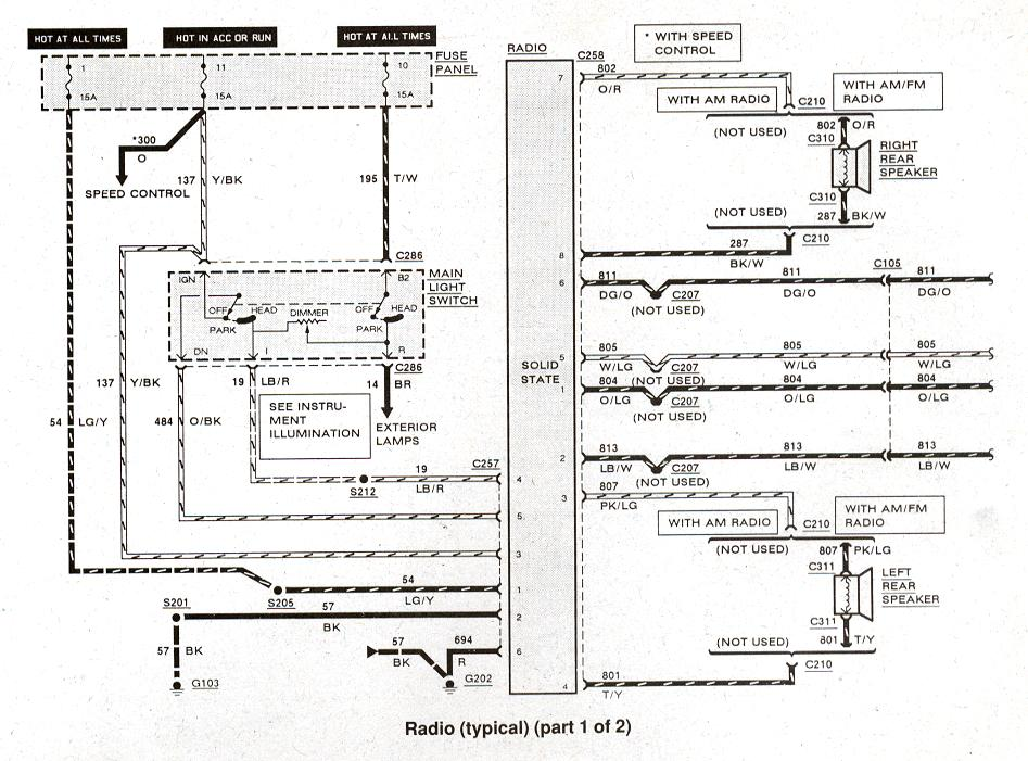 Diagram_radio_typical_1of2 bronco ii wiring diagrams bronco ii corral 93 Ford Ranger Wiring Diagram at bayanpartner.co