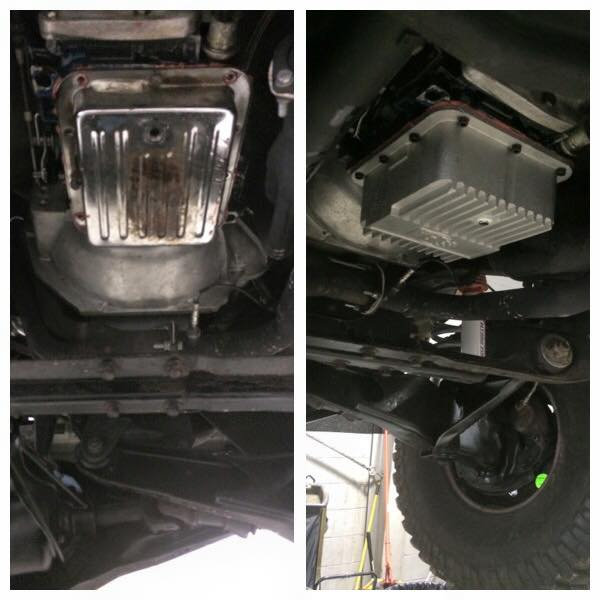 Crappy leaky tranny pan replaced with a deeper aluminum pan