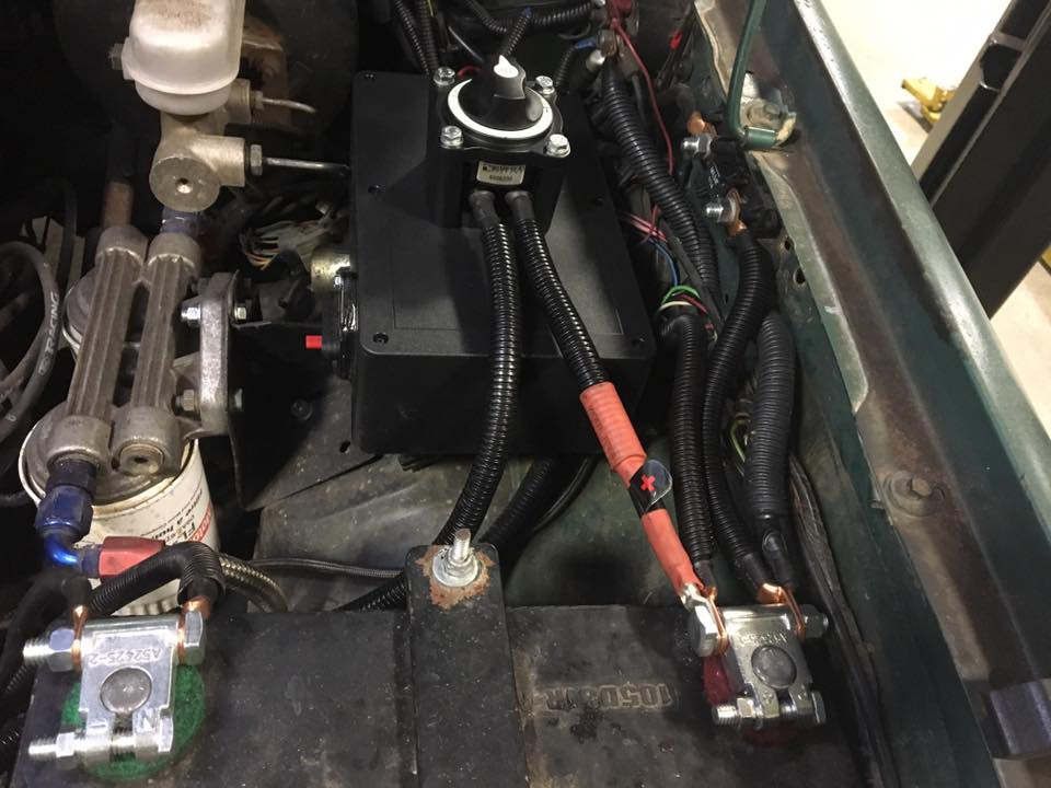 Winch cutoff switch wired up with new terminals and custom length cable