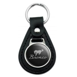 Black Leather Ford Bronco Chrome Logo Keychain