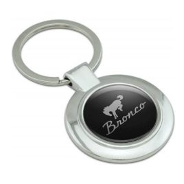 Ford Bronco Chrome Logo Round Keychain